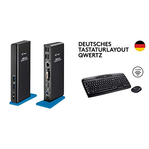 i-tec USB 3.0 Dual Docking Station HDMI DVI 2x Full HD+ 2048x1152, für Notebook Ultrabook Tablet ab WIN 8.0 & Logitech MK330 Kabellose Tastatur und Maus - QWERTZ deutsches Tastaturlayout - Schwarz