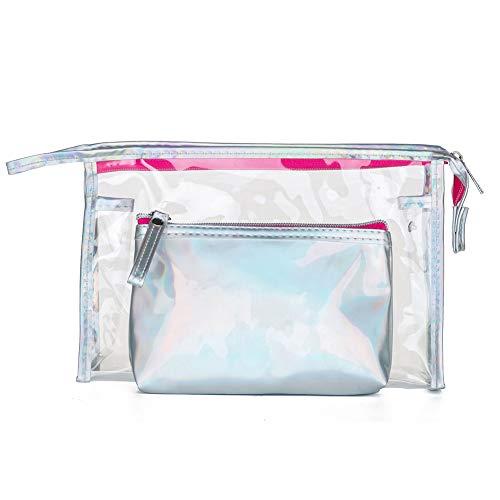 Guess Leder Kupplung (YSoutstripdu Kosmetische Speicherung Pouch Transparent Glossy Frauen Geldbeutel Kupplung Bag Travel Mutter Tagesgeschenke-Pink/Silver/Brown/gelb)