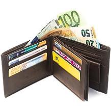 Cartera de cuero para hombre fabricada de forma artesanal en España (Made in Murcia, Spain), marca Oboly » 16 compartimentos de tarjeta + 2 monederos + 2 compartimentos para Euros