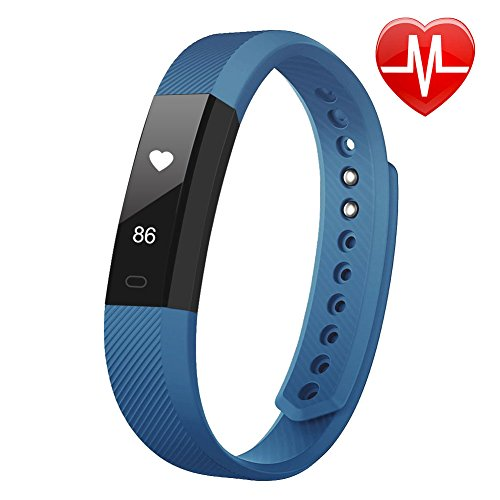 Fitness Tracker, LETSCOM Fitness Tracker Watch with Heart Rate Monitor, Slim Touch Screen and Wristbands, Wearable Waterproof Activity Tracker Pedometer for Android and iOS, Blue