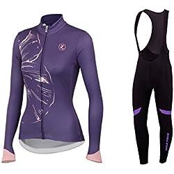 BurningBikewear Uglyfrog Conjunto Ciclismo Moda Mujer Invierno/Otoño 3D Cojín Pantalones Larga Thermo Lana Malliot de Ciclismo Ropa de Ciclista Bodies Anti-frío Absorbe la Humedad RTWX01