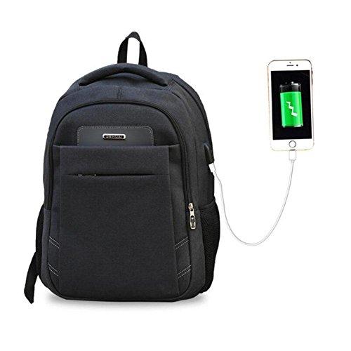 WYXIN Reise-Laptop-Rucksack, Geschäfts-wasserdichter Polyester-Computer-Rucksack mit USB-Ladehafen, dauerhafte College-Laptop-Tasche für Frauen u. Männer Passt 16 Zoll-Laptop und Notizbuch an , black (Polyester-canvas-tasche)