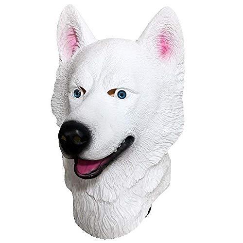 IENPAJNEPQN Lustige Halloween Latex weiß Husky Hund Kopfbedeckungen Maske Cosplay Ball Party Animal Dress up Requisiten Masken (Color : White, Size : One Size)