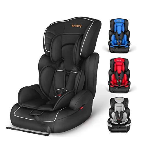 Besrey Kinderautositz Fix-Kindersitz 9-36kg Auto Kindersitz für Kinder 9 Monaten - 12 Jahre, Autositz Gruppe 1/2/3, ECE R44/04 (Schwarz)