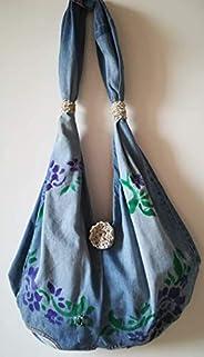 borsa handmade di jeans dipinta a mano