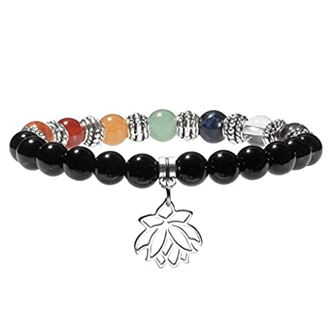 JSDDE 7 Chakra Healing Crystal Gemstone Ball Beads Lotus Flower Black Agate Natural Stone Stretch Bracelet(8mm