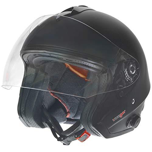 RF-730 Bluetooth Jethelm Motorradhelm Jet Motorrad Roller Bobber Helm rueger, Größe:S (55-56), Farbe:Matt Schwarz