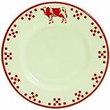 Quid 2058054 Lot de 6 Assiettes à Dessert Marguerite Country Faïence Rouge/Blanc 19,8 x 19,8 x 2,20 cm