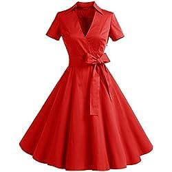 Manga Corta Retro 1950s Vintage Prom Vestidos 10084 Rojo S