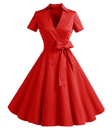 Timormode Robe Années 50's Audrey Hepburn Rockabilly Swing,Plissé Robe à Manches Courtes 10084Red 3XL