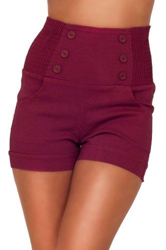 Pantaloni corti vita alta alla moda chic abbottonati davanti retro' vintage