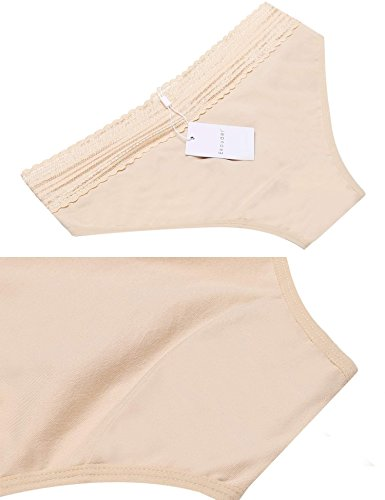 Ekouaer 6er 3er Pack Tange Damen Hipster Spitze Sexy Panties Frauen Unterwäsche Baumwolle String Lace 6288_schwarzweißaprikose