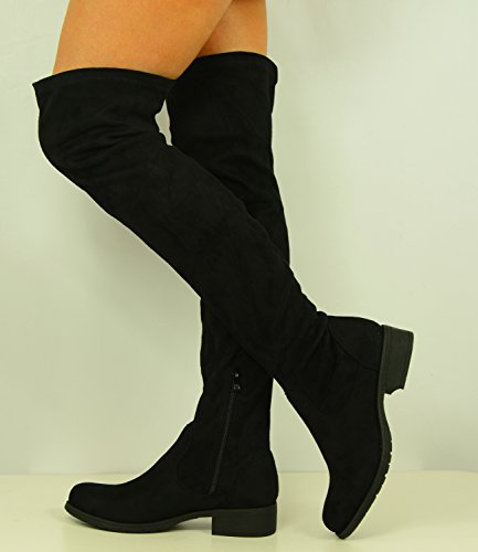 Cucu Fashion Womens Over The Knee Faux Suede Boots Ladies Low Block Heel Zip Shoes Size UK 3-8 2
