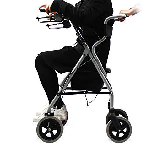Mr.LQ Rollator Aluminium Leichtgewicht Walking Frame Faltenwalker Drive 4 Wheeled Trolley mit Seat Leg Lifter Mobilitätshilfe