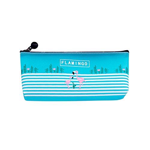 Little Finger Fashion Flamingo PVC Gel Reißverschluss Stifte Tasche Container Make-up Pinsel Halter Organizer Stifte Etui Bulk Günstig blau - Pinsel Finger,