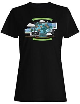 Nuevo Mundo Naranja Viajes camiseta de las mujeres h981f