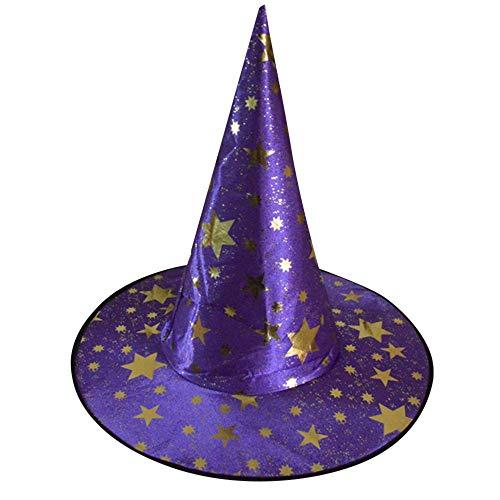 w Spielt Magischen Hut Sterne Hut der Hexe Halloween Kostüm Zusatz (Lila,Einheitsgröße) ()
