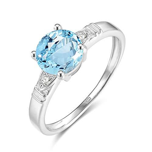 Knsam 7x7mm rotonda topazio blu anelli 925 donna argento anello donna anello eternity dimensione 8
