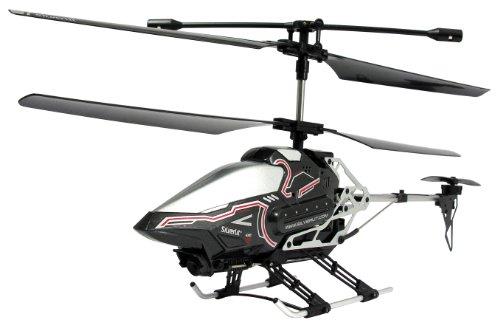84602 Silverlit Sky Eye ferngesteuert 3-Kanal Helikopter 2.4GHz mit Gyro + Kamera für Video bzw. Bilder + Display in Fernbedienung für Echtzeitübertragung ca. 33cm, farblich sortiert