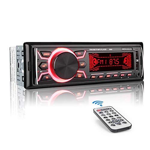 MEKUULA Autoradio mit Bluetooth Freisprecheinrichtung, 60W x 4 Single Din Universal Autoradio FM Empfänger Eingebautes Mikrofon, Universal MP3 Player Unterstützung USB/TF/AUX/WMA/WAV + Fernbedienung (Radio 24 Volt)