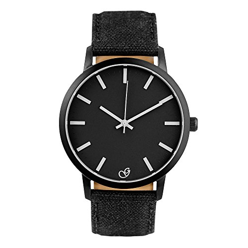 Gaxs Watches Jack K Herren Armbanduhr schwarz mit weißen Zeigern