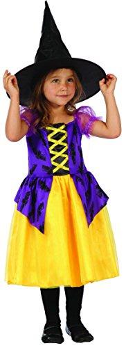 Fledermaus Hexe - Hexenkostüm Kinder Kleinkinder Halloween Gr. 92-104 - Hexenkostüm Mädchen mit Hut + (Halloween Kleinkinder)