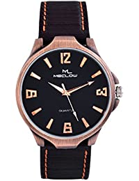 Latest Fashionable Round Dial Black Belt Watch Round Copper And Black Dial Casual / Formal Watch For Mens And...