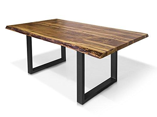 moebel-eins DALIN Baumkantentisch Baumkantenesstisch Esstisch Akazie-Tisch Holztisch Massivholztisch Esszimmertisch Tisch Baumkante Metallfuß, 220 x 100 cm, schwarz