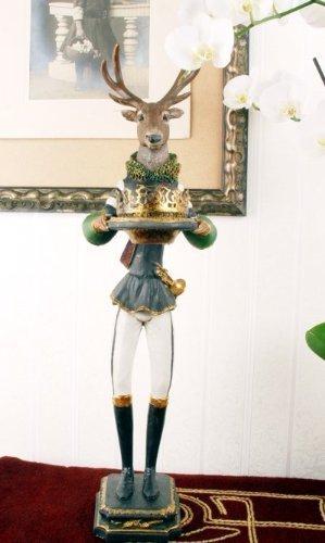 Gigantische Hirschfigur/Figur/Hirsch/Teelichthalter/Kerzenhalter mit lieblichem und schönem Motiv aus Polystein und zudem im angesagten nostalgischem Stil - Palazzo Exclusive (Hirsch-figur)