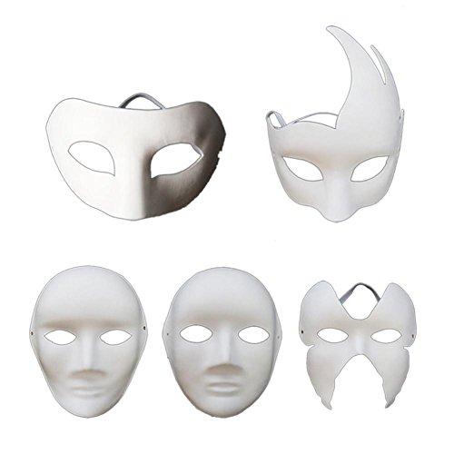 TODAYTOP DIY Maske Halloween Dance Party Blank handbemalt -