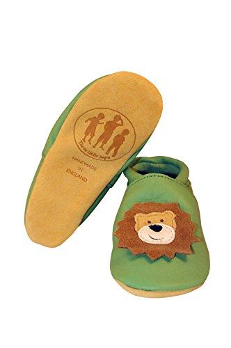Three Little Imps Handgemachte weiche Kleinkind-Schuhe aus Leder Ð BrŸllender Lšwe auf blassem GrŸn 12 - 18m (LNPG) grün