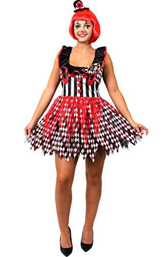 ILOVEFANCYDRESS SEXY Horror HARLEKIN Frauen Clown KOSTÜM MIT Einer ROTEN BOB PERÜCKE=VERKLEIDUNG=Halloween -Fasching -Karneval-Party=XLarge