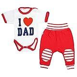 TupTam Unisex Baby Bekleidung mit Spruch 2er Set , Farbe: I Love Dad Rot, Größe: 98
