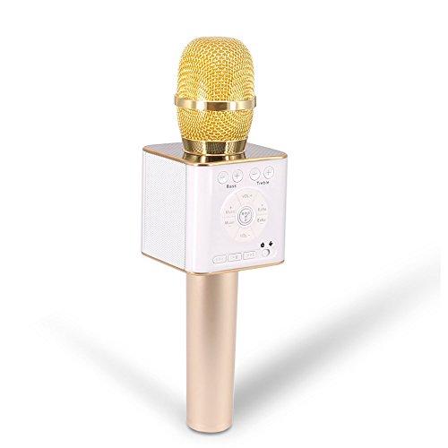 TOSING 04 Tragbarer KTV Player Drahtloses Karaoke-Mikrofon Bluetooth-Lautsprecher 2-in-1 für iOS / Android Smartphone / Tablet Handheld Sing & Recording (Gold) (Song-aufnahme-mikrofon)
