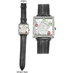Acess Diamante Encrusted Square Bezel Diamond Shaped Bejewelled Face Ladies Watch with Black Leather Strap