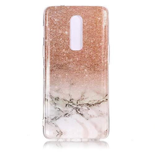 """SsHhUu Custodia OnePlus 6, Ultra Magro [Marmo Modello] Gel Silicone Flessibile Morbido in Gomma TPU Anti-graffio e Anti-Impronte Cover per OnePlus 6 2018 (6.28"""") Oro Rosa/Oro Bianco"""