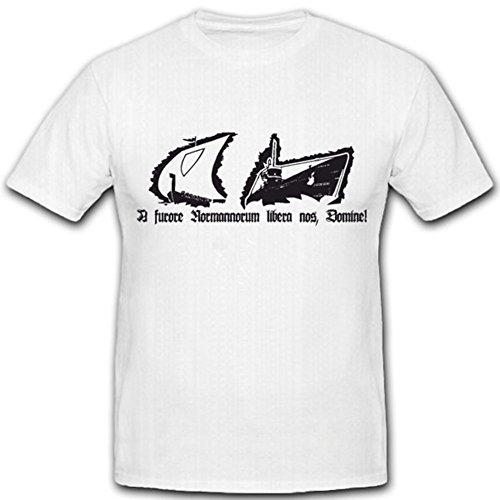 A Furore Normannorum Libera NOS Domine Deutschland Marine WK U Boot Waffe Hafen Nordmänner Kommen Gott - T Shirt #4460, Größe:Herren 4XL, Farbe:Weiß