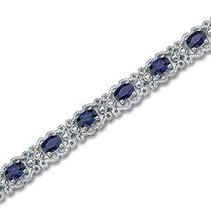 Revoni Design antique - Bracelet avec Saphir synthétique oval - Inspiration pour femme - Argent fin 925/1000