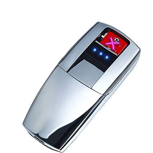 LINGAN Mechero electrónico Doble Arco USB Resistente al Viento, Encendedor eléctrico de Doble Arco, sin Llama Recargable de Plasma para Cigarrillos y Velas de Papel, Plata
