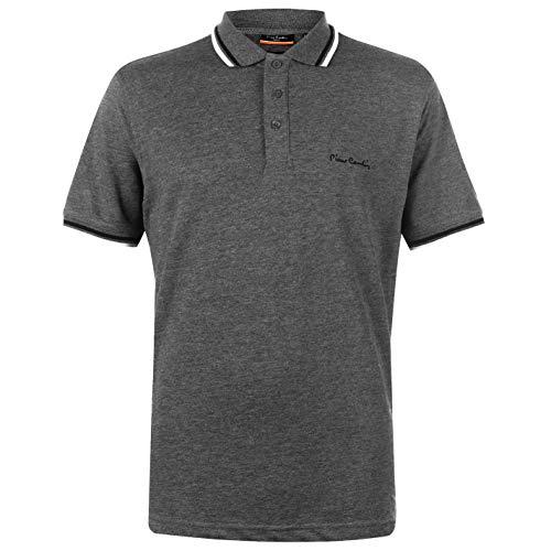 Pierre Cardin Herren Tipped Golf Polo Streifen Shirt Hemd Piquebasisch Einfach Orion Grey 2XL