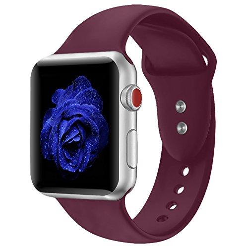 Straper Sportarmband für Apple Watch, Weichem Silikon Armband Ersatz Armbänder für Apple Watch Sport Serie 3 Serie 2 Serie 1 Nike + Sport und Edition (Wein 38mm S/M)