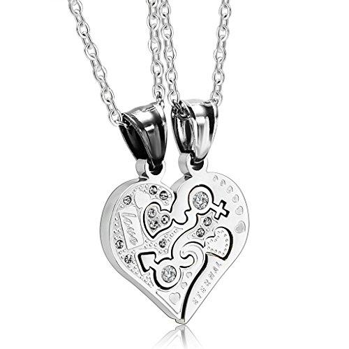 KnBoB Schmuck Edelstahl 2 Stk Paare Halsketten Cubic Zirkonia CZ Jigsaw Puzzle Herz Sie und Ihn Silber Anhänger Ketten