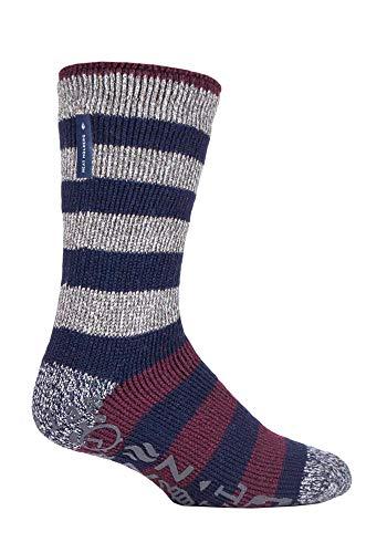 HEAT HOLDERS - Hombre Invierno Antideslizantes Calcetines para Andar por Casa (Rayas grises (Oakley), 39-45 EU)