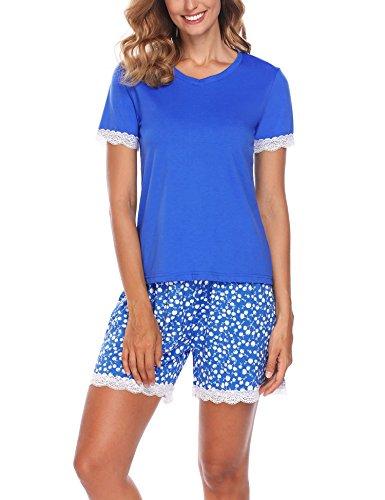 Ekouaer Damen Shorty 2-tlg. Schlafanzug Baumwolle Pyjama Set Kurz Nachtwäsche Kurzarm Shirt & Shorts unifarbe schwarz/grau/weiss (Baumwolle Blau Pyjama Set 2)