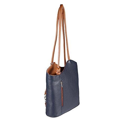 OBC Made in Italy Ledertasche Damentasche 2in1 Handtasche als Rucksack oder Umhängetasche/Schultertasche Tablet/Ipad mini bis ca. 10-12 Zoll 27x29x8 cm (BxHxT) (Dunkelblau (Lackleder)) Dunkelblau-Cognac
