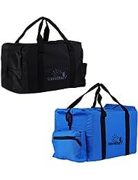 Ultralite Polyster Black & Royal Blue Duffle Bag Combo Pack Of 2 - ( 55 L)