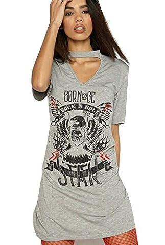 Women's Ladies Choker Neck T shirt Dress Biker Born to be Rock Star Rock N Roll Slogan Printed Tops