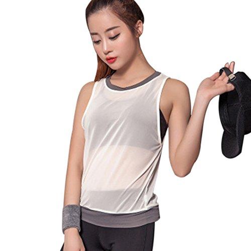 Vertvie Femme Débardeur en Maille Top Tank Mesh Net sans Manches Gilets de Sport Col Rond pour Yoga Jogging Blanc
