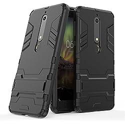Sunrive Coque pour Nokia 6 2018 / Nokia 6.1, 2 en 1 Armour Double Couche Étui Rigide avec Fonction Stand Anti-Choc Silicone TPU+PC Dual Layer Armor(z Noir)+ Stylet OFFERTS