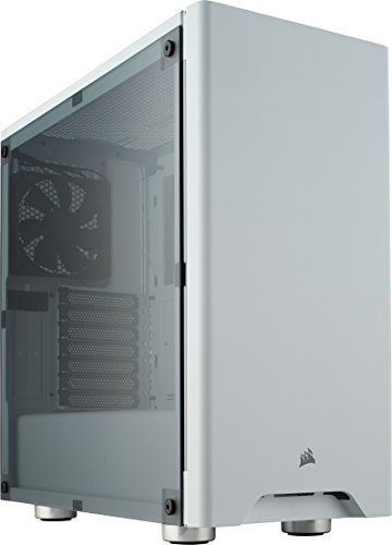 Corsair carbide 275r mid-tower gaming case con finestra laterale, bianco